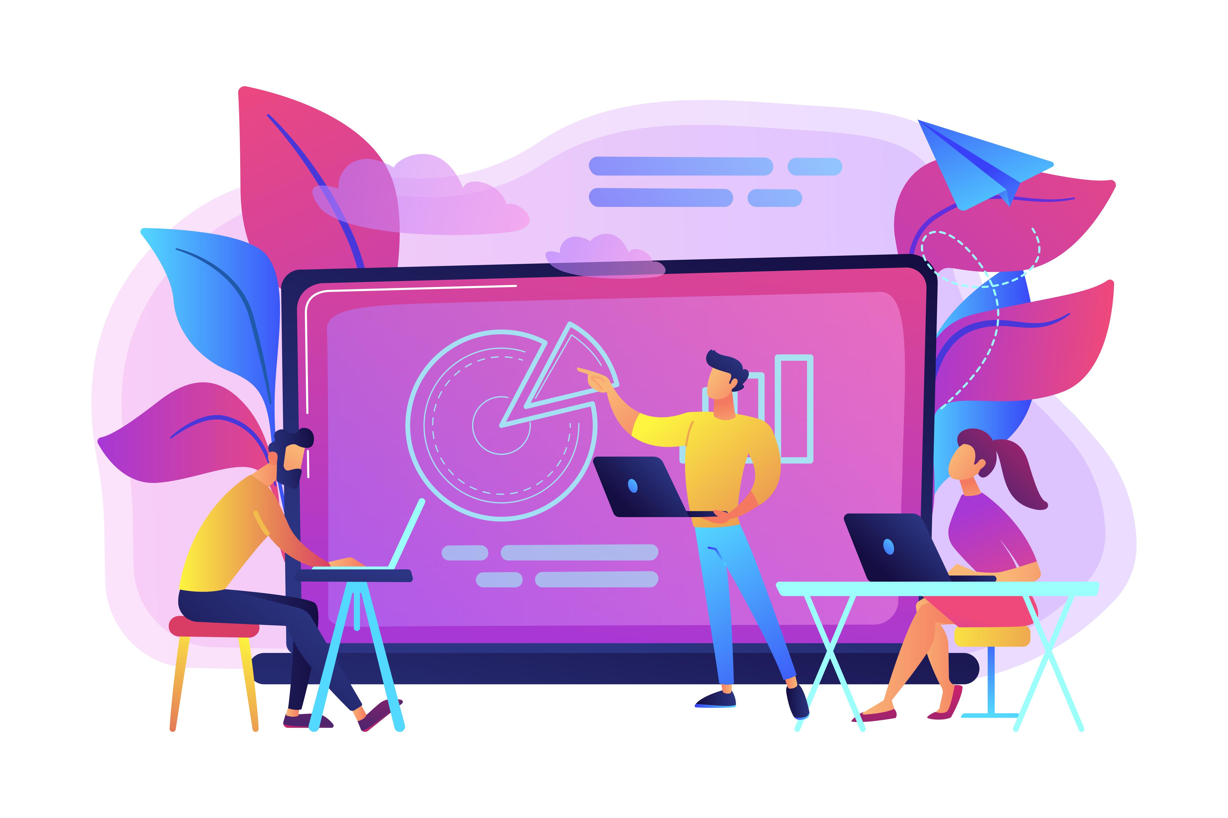 Digital classroom concept vector illustration.
